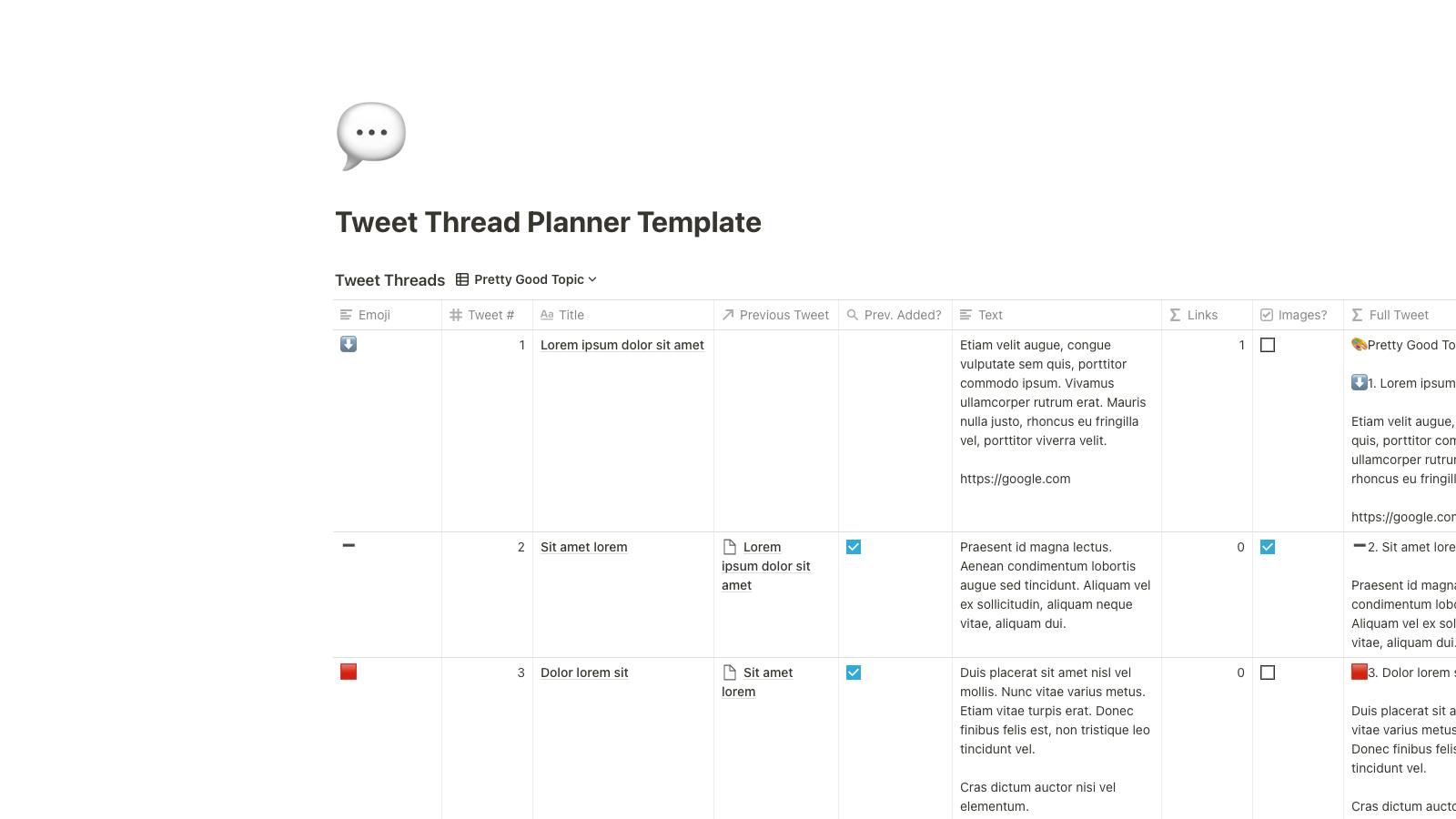 Tweet Thread Planner