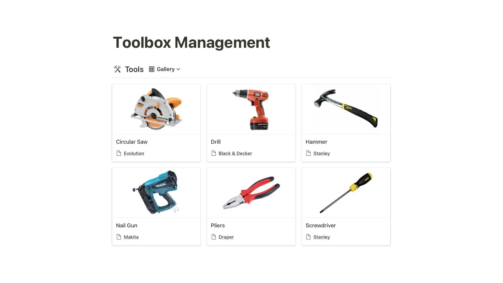 Toolbox Management